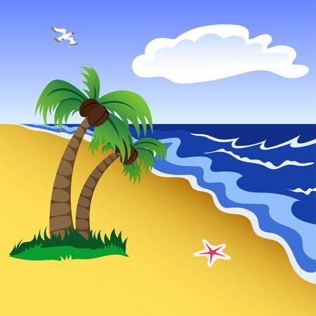 Vector illustration of a tropical beach scene. 向量圖像