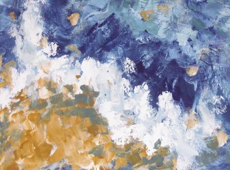 colores calidos: La onda - pintura abstracta con acrílicos Foto de archivo