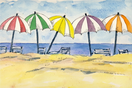 indian ink: Umbrellas at the beach - watercolor and indian ink