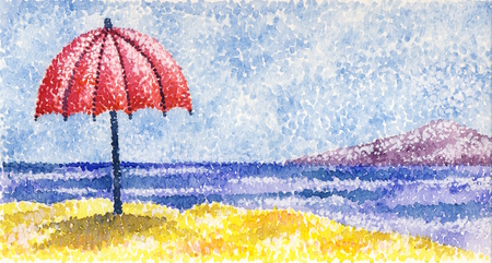 pointillism: Red umbrella - acrylic painting in the style of pointillism