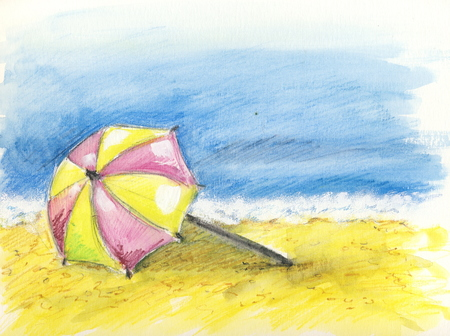 At the beach - watercolor pencils