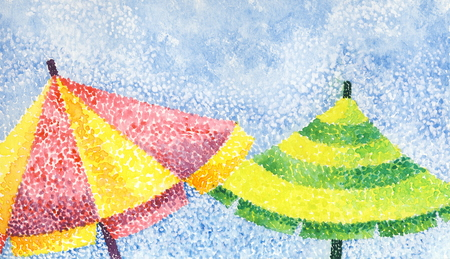 Two umbrellas - acrylic painting in the style of pointillism