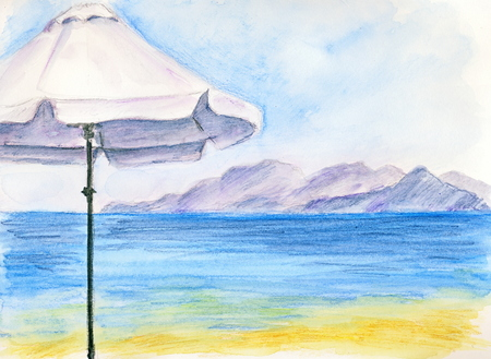 A white umbrella - watercolor pencils