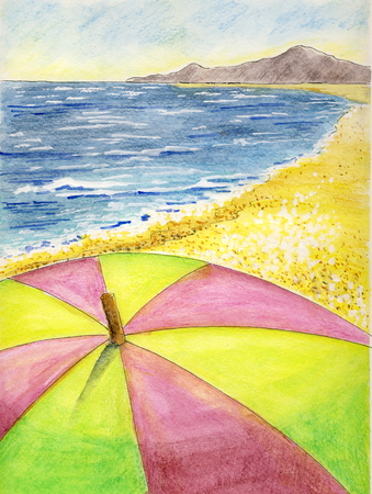 A hot summer day - watercolor pencils Stok Fotoğraf