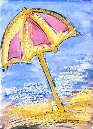 Umbrella sketch - watercolor and oil pastel