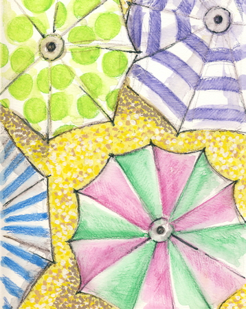 Colorful umbrellas - drawing with watercolor pencils Stok Fotoğraf