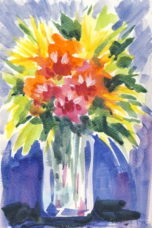 A bouquet of flowers in a vase painted with watercolors in an abstract expressive style