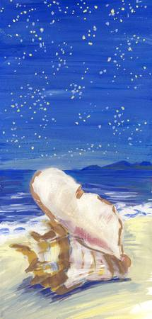 A seashell at the beach, painted with gouache.