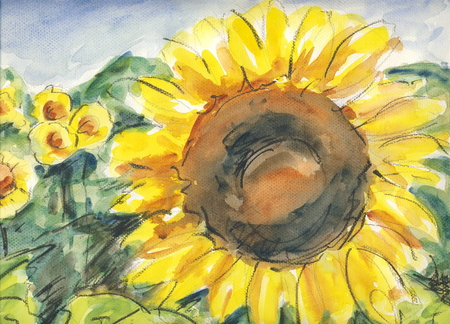 Sunflowers original watercolor painting