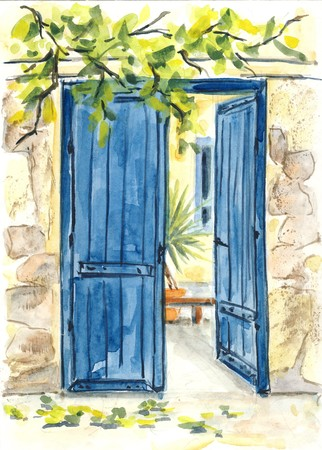 Blue door  original watercolor