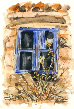 Old window  original watercolor Stok Fotoğraf