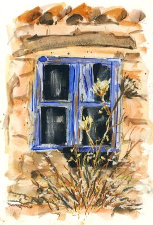 old window: Old window  original watercolor Stock Photo