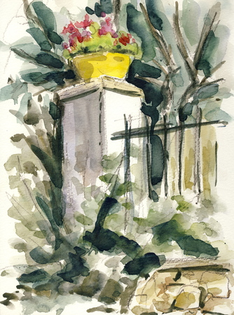In the garden  original watercolor
