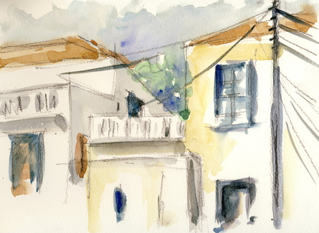 Houses  original watercolor painting