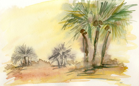 midday: In the desert 6  watercolor painting