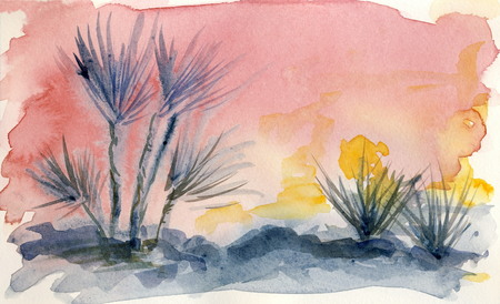 In the desert 5  watercolor painting