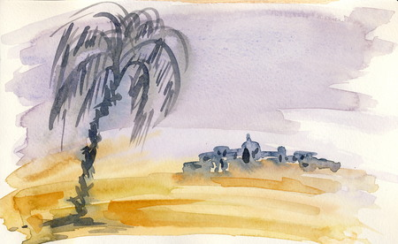 sienna: In the desert 3  watercolor painting