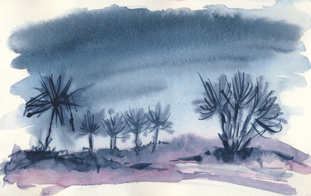 In the desert 2  Watercolor painting