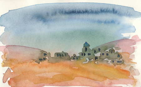 In the desert 1  Watercolor painting Stok Fotoğraf