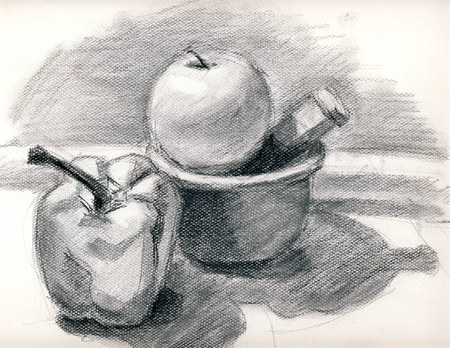 Hand drawing still life with charcoal in black and white Stok Fotoğraf