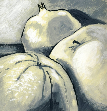 fruitful: Fruits still life, close up - original gouache painting