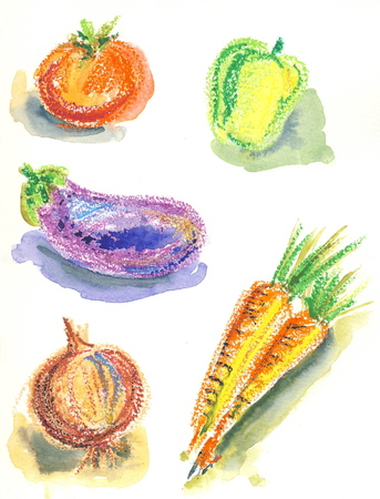 Set of vegetable sketches