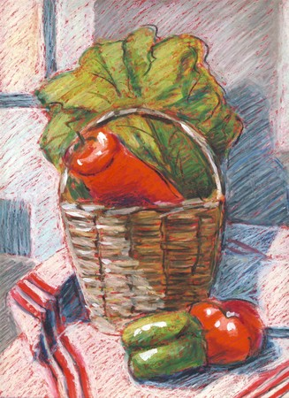 Still life with vegetables in a basket - original illustration with pastels Stok Fotoğraf