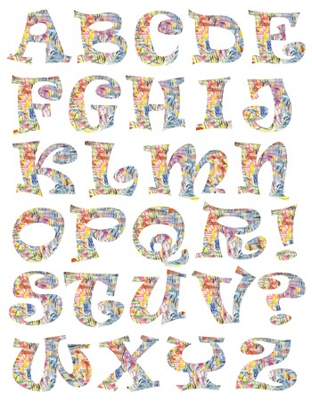 Cororful letters - A funny colorful alphabet with an abstract hand painted texture using watercolors