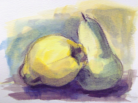 close up food: Fruits - watercolor illustration