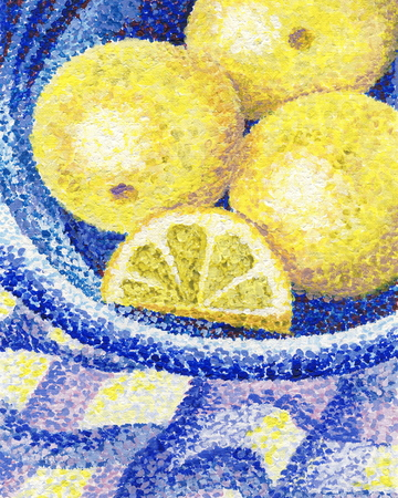 A still life with lemons - original painting with acrylics