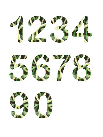 Sripped numbers - Funny letters with hand painted texture using watercolors and pencils in green colors