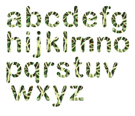 Stripped lowercase letters - Funny letters with hand painted texture using watercolors and pencils in green colors