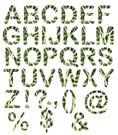 Stripped capital letters - Funny letters with hand painted texture using watercolors and pencils in green colors