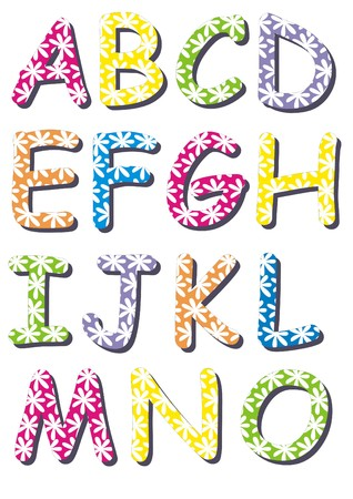 White flowers colorful letters 1 - A set of spring time letters in different colors with white flowers pattern Stok Fotoğraf