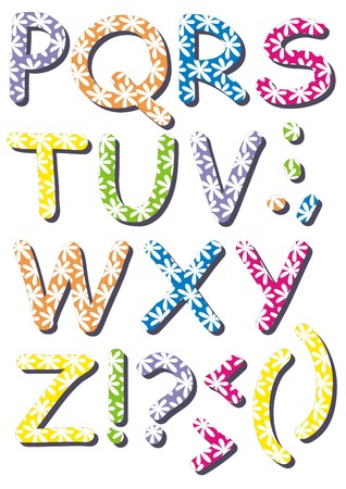 White flowers colorful letters 2 - A set of spring time letters in different colors with white flowers pattern
