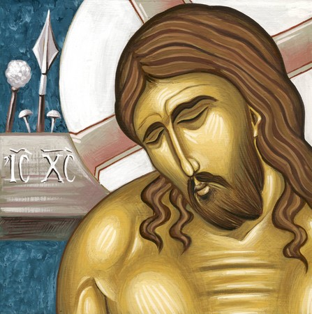 tempera: Jesus at the cross  Original hand painted icon in Byzantine style with egg tempera