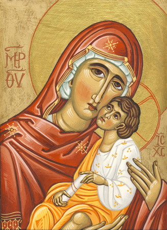 tempera: Mother and child  Original hand painted icon in Byzantine style with egg tempera