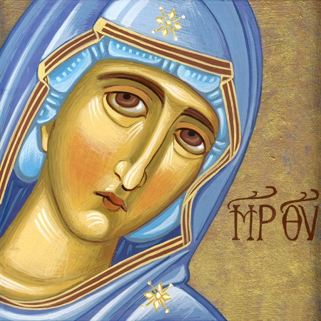 Holly Mother  Original hand painted icon in Byzantine style with egg tempera