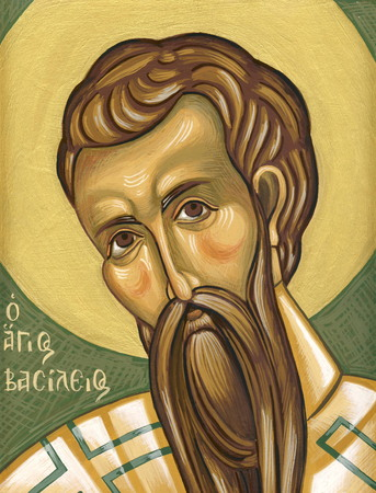 tempera: Saint Basil  Original hand painted icon in Byzantine style with egg tempera