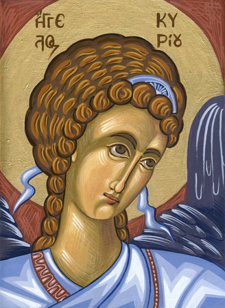 sanctity: Angel in Blue  Original hand painted icon in Byzantine style with egg tempera