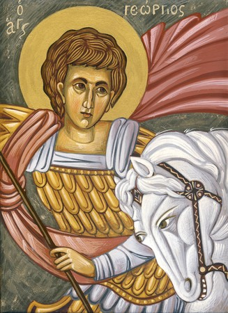 sanctity: Saint George  Original hand painted icon in Byzantine style with egg tempera