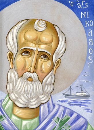 saint nicolas: Saint Nicolas  Original hand painted icon in Byzantine style with egg tempera Stock Photo