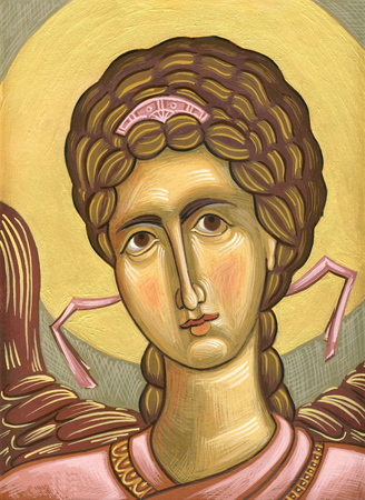 tempera: Angel  Original hand painted icon in Byzantine style with egg tempera