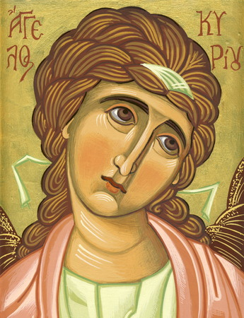 tempera: Angel of Lord  Original hand painted icon in Byzantine style with egg tempera