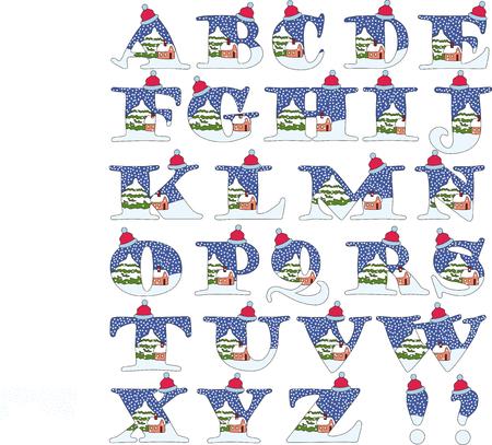 Koude winter alfabet - vier seizoenen
