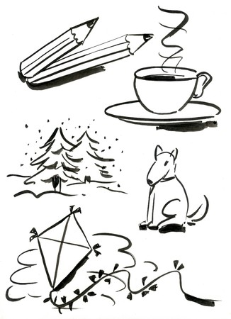 Symbols set 3 - Hand drawn isolated objects with brush and ink