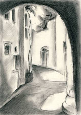 Village in Cyclades, Greece - Charcoal drawing on location