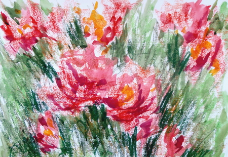An original abstract artwork with flowers, painted in watercolors. Stok Fotoğraf
