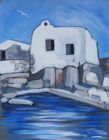 A small white house near the sea in Cyclades Greece