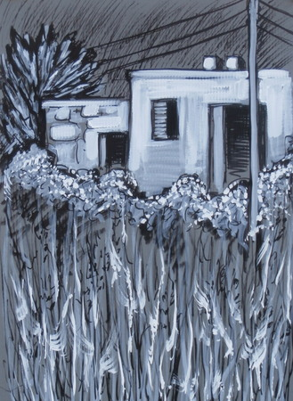 Acrylic painting in black and white of an old house in the middle of a field